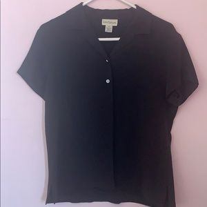 Ann Taylor button up black blouse